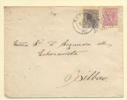 MADRID A BILBAO Nº 192 Y I EN GUERRA 188 MATº ROMBO PUNTO Y FECHADOR TREBOL - 1872-73 Reino: Amadeo I