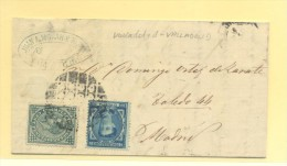 VALLADOLID A MADRID Nº 175 E I. GUERRA 183 MATº CIRCULO PUNTO NEGROS - 1872-73 Reino: Amadeo I