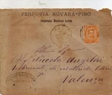 1882 LETTERA INTESTATA FERROVIA NOVARA - PINO  CON ANNULLO MACCAGNO VARESE - Marcophilia