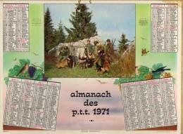 CALENDRIER ANNEE 1971 - ALMANACH DES POSTES ET DES TELEGRAPHES -  DEPARTEMENT DU VAR -   EDITEUR OLLER - Calendriers