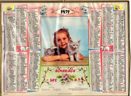 CALENDRIER ANNEE 1971 - ALMANACH DES POSTES ET DES TELEGRAPHES -  DEPARTEMENT DU VAR -   EDITEUR OLLER - Calendars