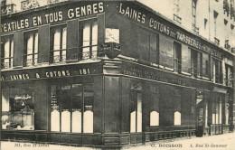 PRIX FIXE !!  75 PARIS - DEVANTURE - ANGLE 1 RUE SAINT SAUVEUR - 181 RUE ST DENIS - TEXTILES EN TOUS GENRES - TAPISSERIE - Arrondissement: 02