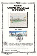 Carte Souvenir FDC Soie - COB 2495 - Sonstamp N°x FR - Série 603-607 - Tirage N°62 Sur 400 - Anvers Capitale Culturelle - Erinnerungskarten