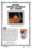 Carte Souvenir FDC Soie - COB 2496 - Sonstamp N°x FR - Série 603-607 - Tirage N°62 Sur 400 - Anvers Capitale Culturelle - Erinnerungskarten