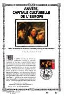 Carte Souvenir FDC Soie - COB 2497 - Sonstamp N°x FR - Série 603-607 - Tirage N°62 Sur 400 - Anvers Capitale Culturelle - Erinnerungskarten