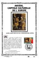 Carte Souvenir FDC Soie - COB 2498 - Sonstamp N°x FR - Série 603-607 - Tirage N°62 Sur 400 - Anvers Capitale Culturelle - Erinnerungskarten