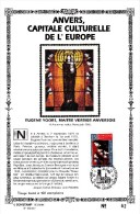 Carte Souvenir FDC Soie - COB 2499 - Sonstamp N°x FR - Série 603-607 - Tirage N°62 Sur 400 - Anvers Capitale Culturelle - Erinnerungskarten