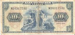 BILLETE DE ALEMANIA DE 10 MARCOS DEL AÑO 1949  (BANKNOTE) - [ 7] 1949-… : RFA - Rep. Fed. De Alemania