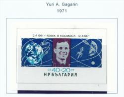BULGARIA  -  1971  Gagarin  Miniature Sheet  Unmounted Mint - Bulgaria