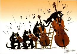 C P M---THEME---CHATS HUMANISES---ILLUSTRATEUR   SAUNIER--violon  Le Virtuose----voir 2 Scans - Chats