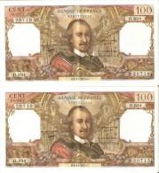 PAREJA CORRELATIVA DE FRANCIA DE 100 FRANCOS DEL 6-11-1975 EN CALIDAD EBC+  (BANKNOTE) - 1962-1997 ''Francs''