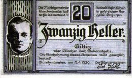 Gutschein 20 Heller Marktgemeind - [ 3] 1918-1933 : República De Weimar