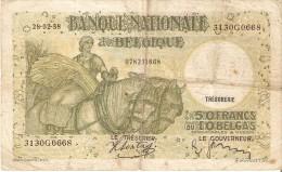 BILLETE DE BELGICA DE 50 FRANCS-10 BELGAS DEL AÑO 1938  (BANK NOTE) - 50 Francos-10 Belgas
