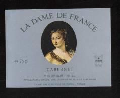 Etiquette De Vin Du Haut Poitou Cabernet  -  La Dame De France -   Thème Femme - Belleza Femenina En El Estilo 'Liberty'