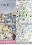 B1055 - Brochure Illustrata GRECIA - ORARI LINEE AEREE AIR FRANCE - MAPPA ATENE Anni '60 - Europa