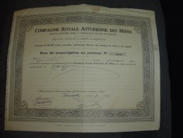 """Bon De Souscription""""Cie Royale Asturienne Des Mines""""Zinc En Espagne Bruxelles 1923 - Mines"""