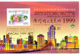 Bloc De China Chine : (61)1999 Macau-Création De Macao Région Administrative Spéciale De La RPC SG MS1148**(Surchargé ) - China
