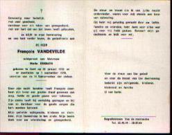 Souvenir Mortuaire VANDEVELDE, François (1912-1978) Geboren En Overleden Te GENT - Images Religieuses