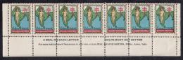 India 'Salaam 1944-45 Holiday Greetings' Seals Block Of 7 Plus Selvedge - Selvedge Crease - Timbres De Bienfaisance
