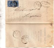 1878  LETTERA CON ANNULLO CAMERINO MACERATA + TOLENTINO - Marcofilía