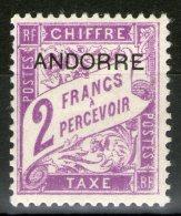 ANDORRE Français:  Taxe N°7 *      - Cote 18€ -