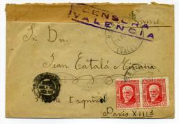 """Lettre WW2 Avec """" CENSURA VALENCIA """" + TP Républica Espandia / 22 Oct 1937 - Marcas De Censura Nacional"""