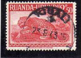 RUANDA URUNDI 1948 1950 FAUNA LEOPARD ANIMAL ANIMALE LEOPARDO USED - Ruanda