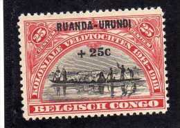 RUANDA URUNDI 1925 Colonial campaigns in 1914-1918 Surtax helped erect Kinshasa monument  World War I. MNH