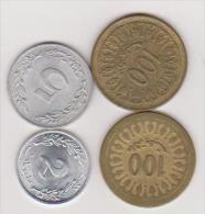 4 Münzen Von Tunesien, 2, 5, 100, 100 Dinar, 1960, 1983, Ansehen - Tunesien