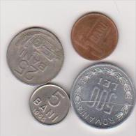 4 Münzen Von Rumänien, 5 Bani, 1966,2005, 25 Bani, 1960, 500 Lei, 1990, - Rumänien