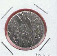FRANCIA - FRANCE =  5 Franc  1992  KM1006 - J. 5 Francos