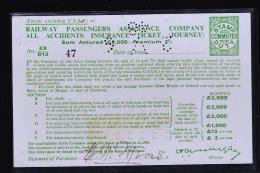 RAILWAY PASSENGERS ASSURANCE COMPANY TICKET / EXCLUS URSS CARTE PERFOREE - Transportation Tickets