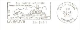 CACHET OBLITERATION FLAMME EMA PP LA SAUVE MAJEURE ABBAYE ENTRE DEUX MERS   ENVELOPPE 22X11 - Postmark Collection (Covers)