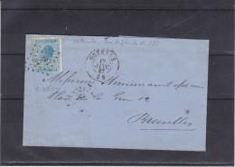 Belgique - Lettre De 1867 - Oblitération Ostende - Expédié Vers Bruxelles - 1865-1866 Profil Gauche