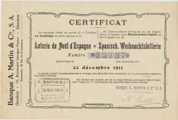 BILLET LOTERIE  GENEVE NOEL D'ESPAGNE 1911 - Biglietti Della Lotteria