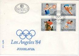 YUGOSLAVIA 1984 Summer Olympics: Los Angeles FDC.  Michel 2048-51 - FDC