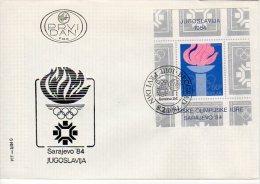YUGOSLAVIA 1984 Winter Olympics Blocks On 2 FDCs With Belgrade Postmarks.  Michel Blocks 24-25 - FDC