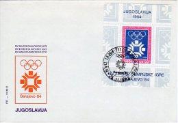 YUGOSLAVIA 1983 Winter Olympics Block FDC With Sarajevo Postmark.  Michel Block 22 - FDC