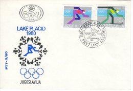 YUGOSLAVIA 1980 Winter Olympics: Lake Placid FDC  Michel  1821-22 - FDC