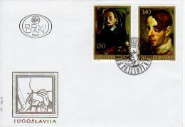 YUGOSLAVIA 1977 Self-portraits On 3 FDCs  Michel  1708-13 - FDC