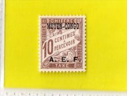 MOYEN - CONGO  --  TIMBRE  TAXE  SURCHARGE  --  **   10 C.  ** --   POSTE 1928  --  NEUF SANS TRACE  DE  CHARNIERE - Unused Stamps