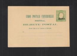 Portugal Acores Stationery Black Overprint - Postal Stationery