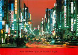 Ginza At Night, Tokyo, Japan Postcard Used Posted To UK 2002 Stamp - Tokio