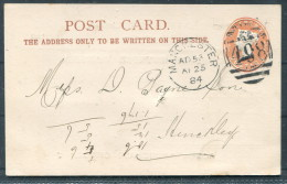 1884 GB Manchester Duplex 498 Private Stationery Postcard Rylands & Sons - Stamped Stationery, Airletters & Aerogrammes