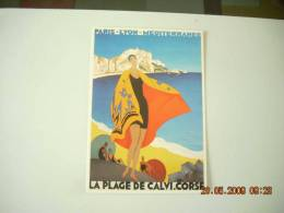 CLOUET  10031 CALVI LA PLAGE PARIS LYON MED  P.L.M CHEMIN DE FER  ROGER BRODERS - Calvi