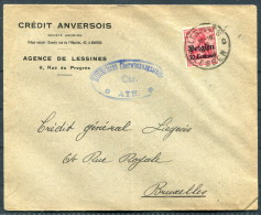 1916 Germany Belgium Credit Anversois Agence De Lessines Censor Brief - Allemagne