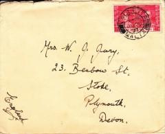 Malta Cover To England Scott #189 1 1/2p George VI Coronation Cancel: 'Valletta Malta JU 25 37' - Malta