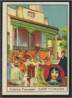 Chromo Tunisie Café Tunisien Colonies Françaises BON-POINT RR Pub:Harrys Dos Didactique 70 X 50 Mm TB - Chromos