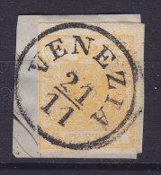 Lombardei & Venetien 1850 Mi. 1    5 C Wappen Deluxe VENEZIA Stempel Auf Briefstück Min. 600 € (2 Scans) - Levante-Marken