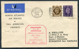 1939 GB Newport Wales North Atlantic Air Service Pan American Flight Cover - Southern Route - Canada - RED Cachet - 1902-1951 (Kings)